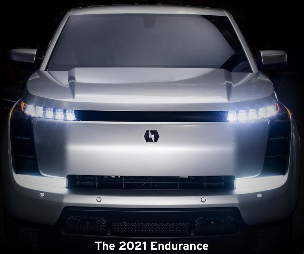 Picture of the grill of the new 2021 Endurance model by Lordstown Motors.
