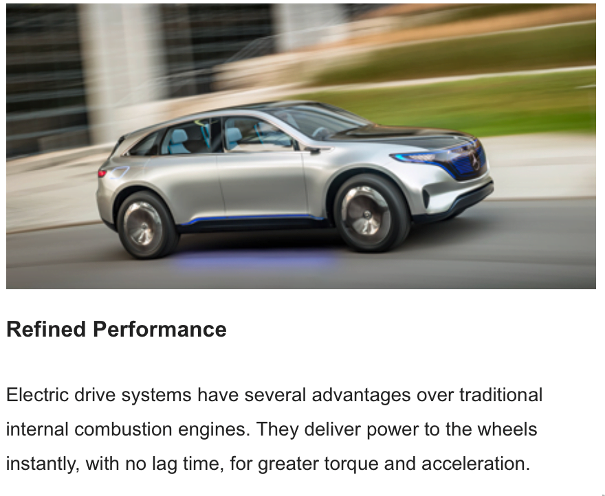 Greater Torque, Power, acceleration ad from Mercedes